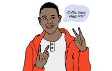 Illustration av en kille som ser glad ut och håller upp handen i ett v-tecken. Han säger: Här är det slutrökt!